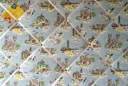 Large 60x40cm Cath Kidston Brittania Landmark Hand Crafted Fabric Notice /