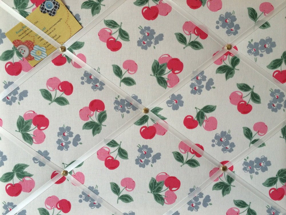 Medium 40x30cm Cath Kidston White Cherry Hand Crafted Fabric Notice / Pin /