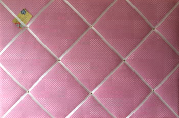 Extra Large 90x60cm Pink with White Polka Dot Fabric Pin / Memo / Notice / Memory Board