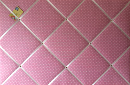 Extra Large 90x60cm Pink with White Polka Dot Fabric Pin / Memo / Notice /