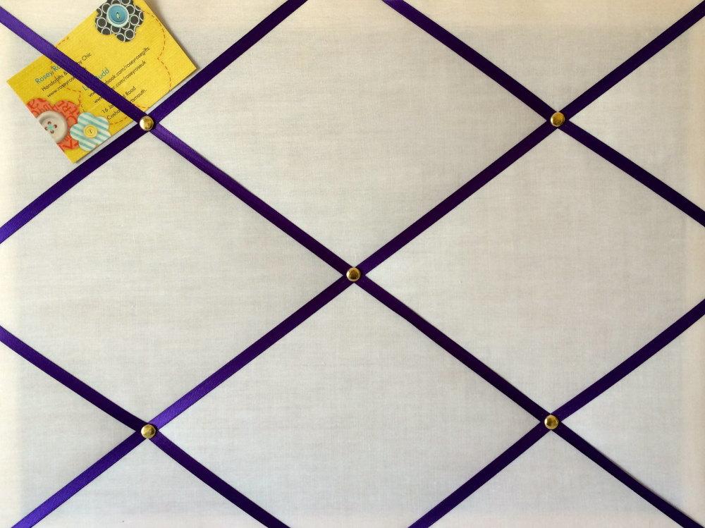 Medium 40x30cm White with Purple Ribbon Hand Crafted Fabric Notice / Memory