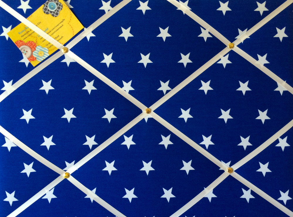 Medium 40x30cm Blue & White Star Hand Crafted Fabric Notice / Pin / Memory