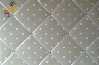 Large 60x40cm Clarke & Clarke Sage Green Dotty Hand Crafted Fabric Notice / Memory / Pin / Memo Board