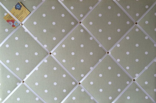 Large 60x40cm Clarke & Clarke Sage Green Dotty Hand Crafted Fabric Notice /