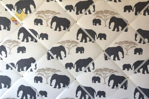 Extra Large 90x60cm Marson Grey Elephants Hand Crafted Fabric Notice / Pin