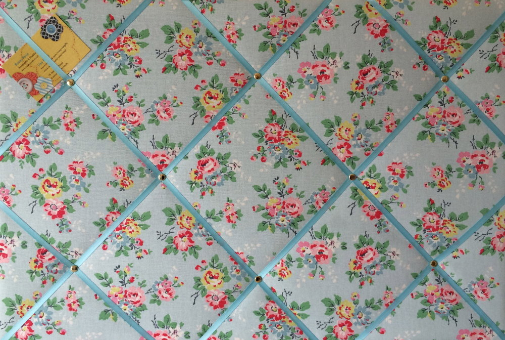 Large 60x40cm Cath Kidston Kingswood Rose Blue Hand Crafted Fabric Notice /