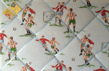 Large 60x40cm Cath Kidston Blue Footie / Football Hand Crafted Fabric Notice / Pin / Memo / Memory Board