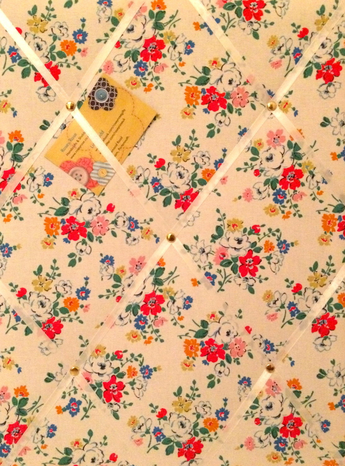 Medium 40x30cm Cath Kidston White Clifton Rose Hand Crafted Fabric Notice /