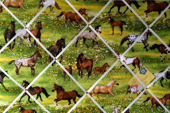 Large 60x40cm Robert Kaufman Band of Horses Horse Scene Hand Crafted Fabric Memory / Notice / Pin / Memo / Memory Board