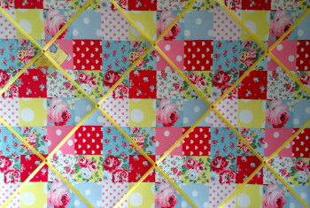 Extra Large 90x60cm Cath Kidston Patchwork Fabric Notice / Pin / Memo / Memory Board