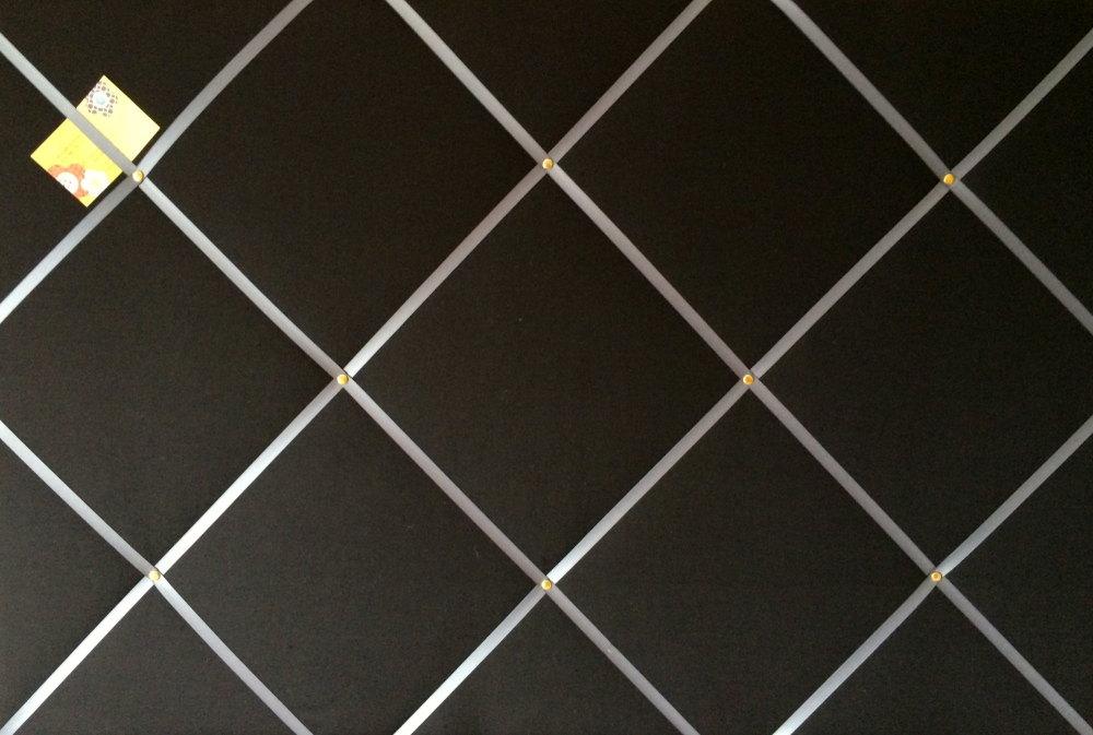 Extra Large 90x60cm Black with Grey Ribbon Fabric Pin / Memo / Notice / Mem