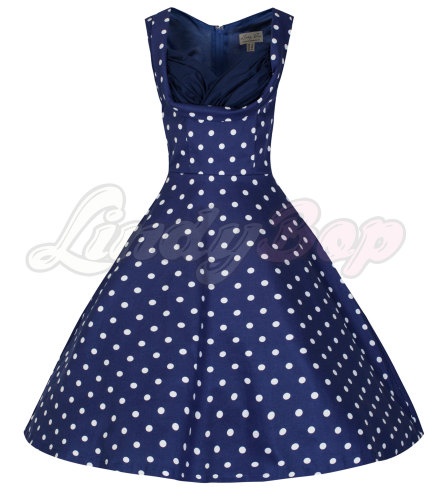 'Ophelia' Vintage 1950's Blue Polka Dot Party Picnic Dress by Lindybop
