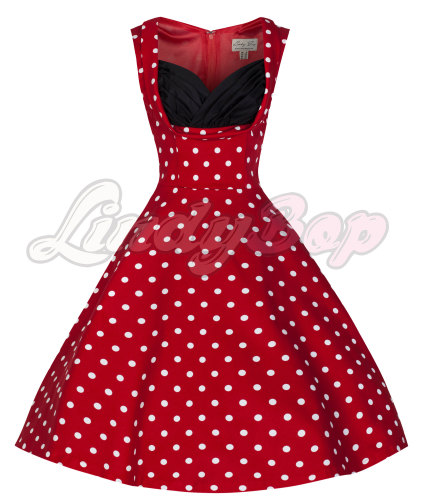 'Ophelia' Vintage 1950's Red Polka Dot Party Picnic Dress by Lindybop