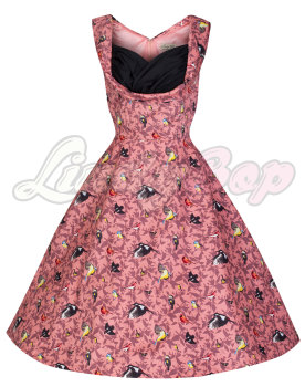'Ophelia' Charming Vintage Inspired Coral Bird Print 50's Rockabilly Dress