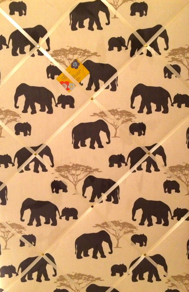 Extra Large 90x60cm Marson Grey Elephants Vertical Hand Crafted Fabric Noti