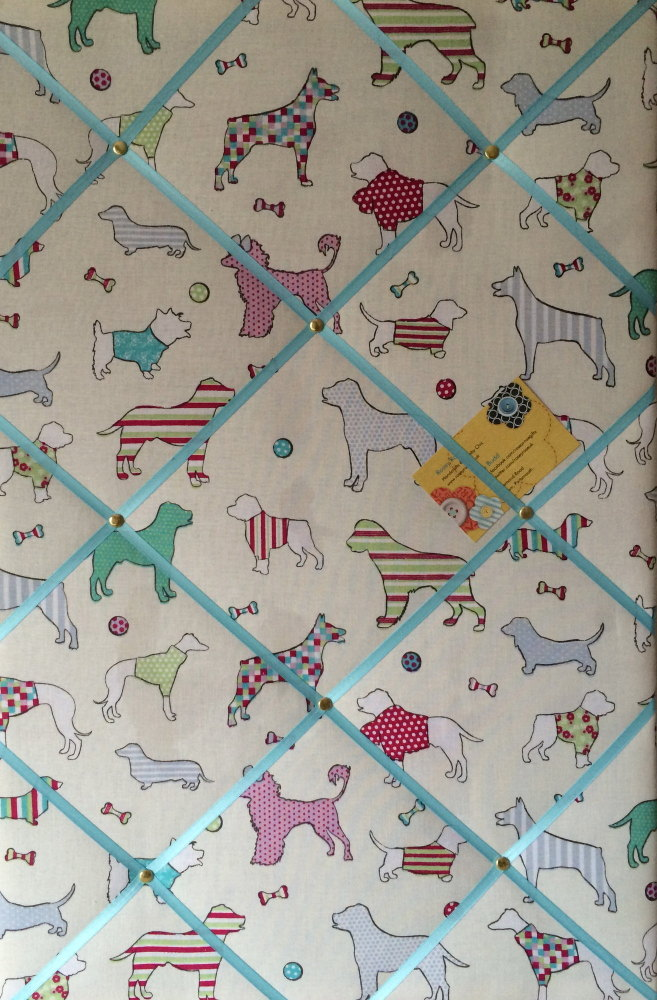 Large 60x40cm Vertical Woof Dogs Turquoise Hand Crafted Fabric Memory / Not
