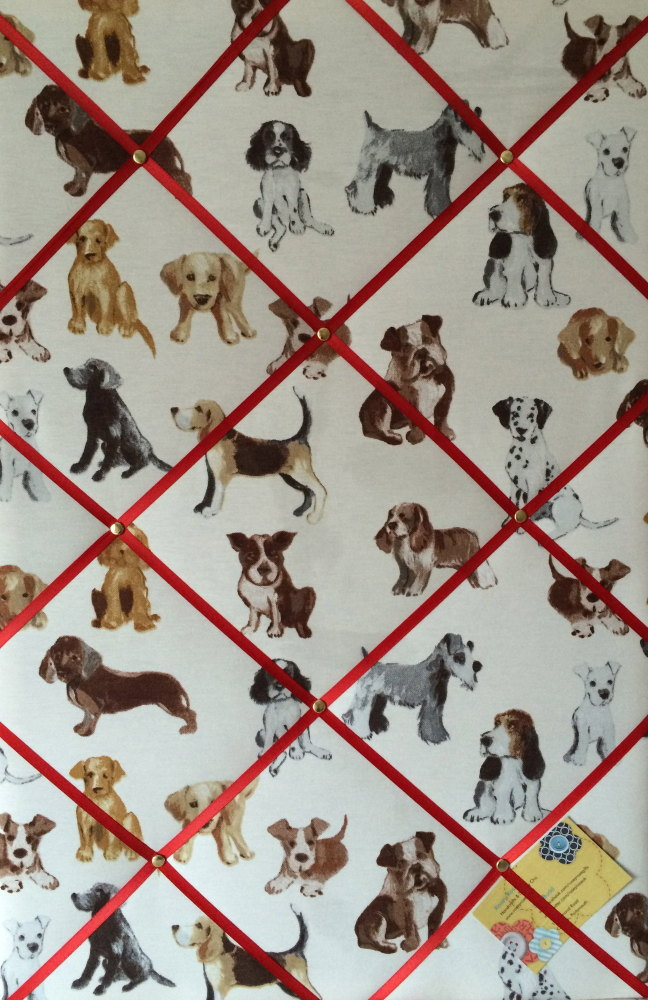 Large 60x40cm Prestigious Dog Hot Dogs Vertical Hand Crafted Fabric Notice