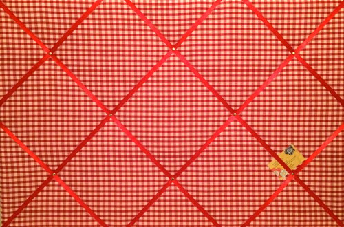 Extra Large 90x60cm Red & White Gingham Check Fabric Pin / Memo / Notice /