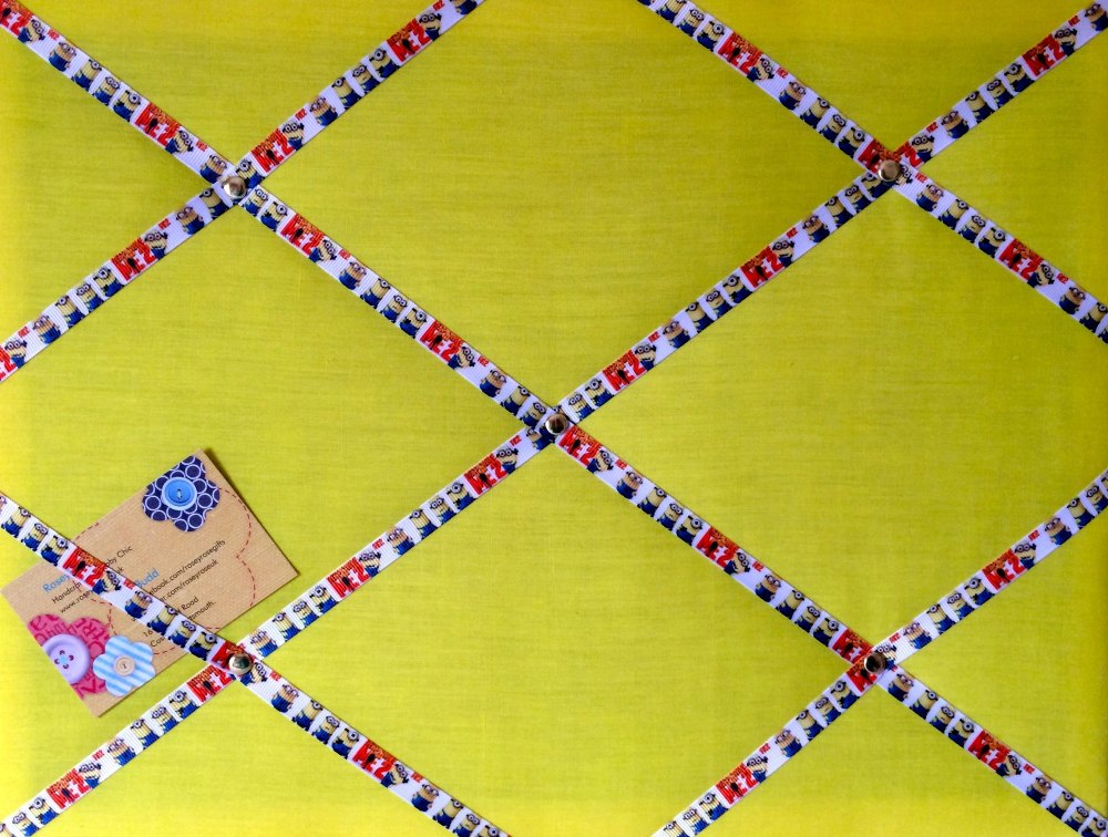 Medium 40x30cm Yellow Minions Ribbon Hand Crafted Fabric Notice / Memory /
