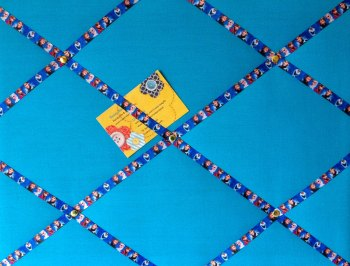 Medium 40x30cm Blue Frozen Ribbon Hand Crafted Fabric Notice / Memory / Pin / Memo / Memory Board