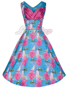 LINDY BOP 'OPHELIA' CHARMING HUMMINGBIRD PRINT 50's INSPIRED SWING JIVE DRESS