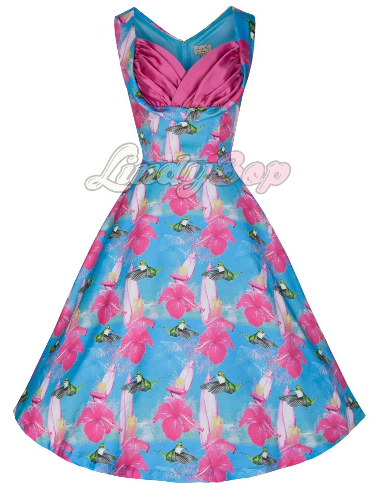 LINDY BOP 'OPHELIA' CHARMING HUMMINGBIRD PRINT 50's INSPIRED SWING JIVE DRE
