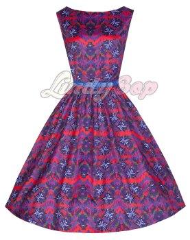 LINDY BOP 'AUDREY' VIBRANT AZTEC PRINT VINTAGE 50'S INSPIRED SWING DRESS