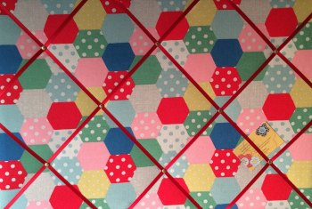 Large 60x40cm Cath Kidston Patchwork Spot Hand Crafted Fabric Notice / Pin / Memo / Memory Board