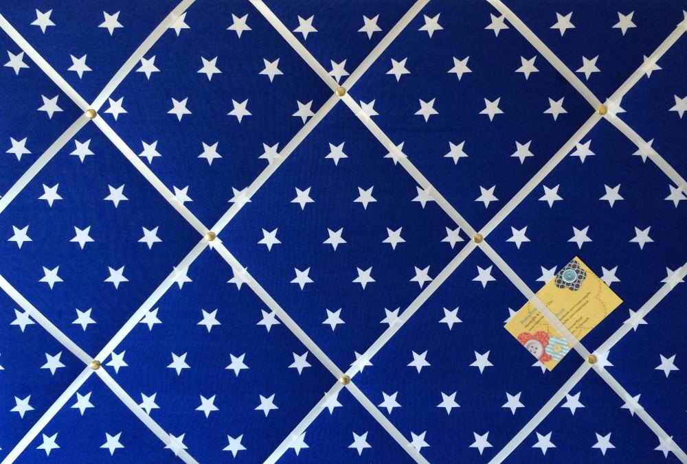 Large 60x40cm Blue & White Star Print Hand Crafted Fabric Notice / Pin / Me
