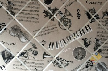 Extra Large 90x60cm Musical Notes Concerto Trumpet Guitar Piano Fabric Pin / Memo / Notice / Memory Board