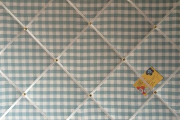 Large 60x40cm Laura Ashley Duck Egg Blue Gingham Hand Crafted Fabric Notice / Pin / Memo / Memory Board