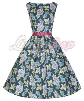 LINDY BOP 'AUDREY' WHITE ROSE BOUQUET PRINT VINTAGE 50'S INSPIRED SWING DRESS