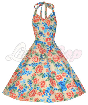 LINDY BOP ' MYRTLE' VINTAGE 1950's PETAL BUST HALTER NECK FLORAL SWING DRESS
