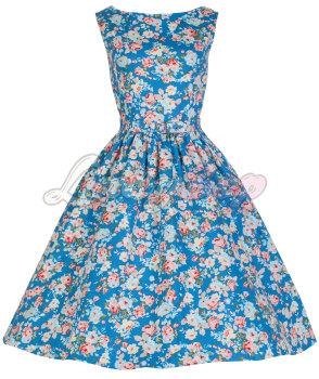 LINDY BOP 'AUDREY' HEPBURN STYLE VINTAGE 1950's SPRING GARDEN FLORAL PARTY DRESS