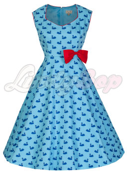 LINDY BOP 'LEDA' BLUE SWAN PRINT VINTAGE 1950'S STYLE SWING DRESS