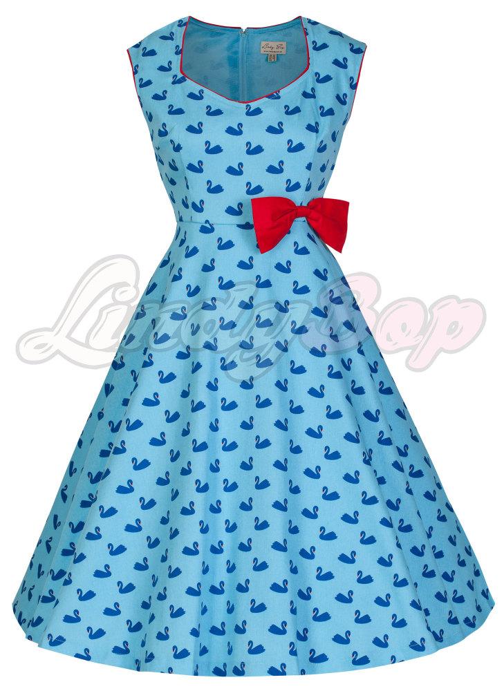 LINDY BOP 'LEDA' BLUE SWAN PRINT VINTAGE 1950'S STYLE SWING DRESS