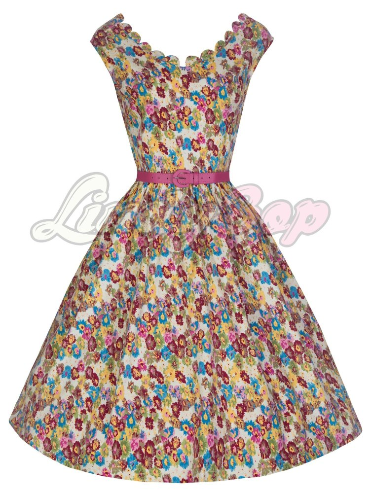 LINDY BOP 'DARIA' GORGEOUS VINTAGE DITSY FLORAL PRINT 50'S INSPIRED DRESS