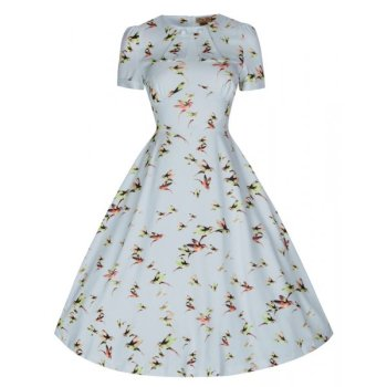 LINDY BOP 'CLARISSA' BEAUTIFUL HUMMINGBIRD PRINT VINTAGE 40's/50's STYLE TEA DRESS