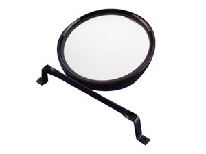 Round Mirror & Bracket - Black