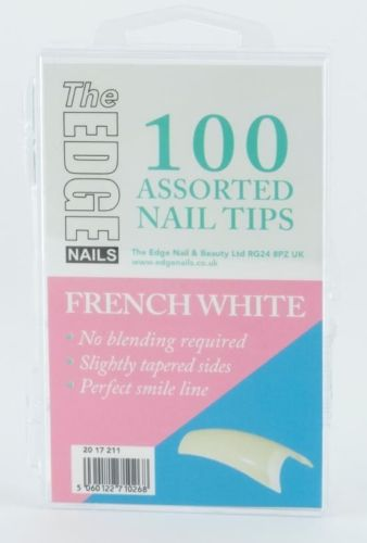 Nail Tips - French White - 100 Assorted (Boxed)