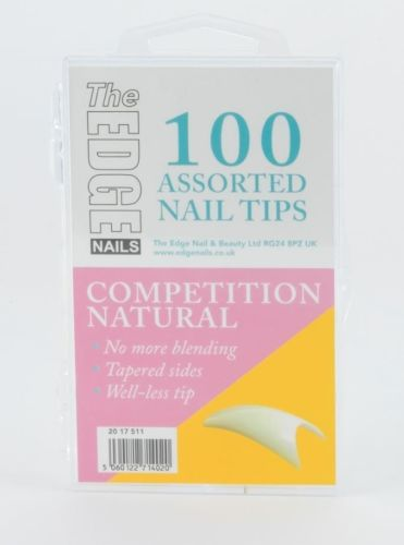 he Edge Natural Competition Nail Tips - Box of 100 Assorted Tips
