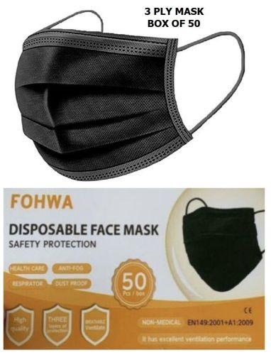 Fowa Black Face Masks Box of 50