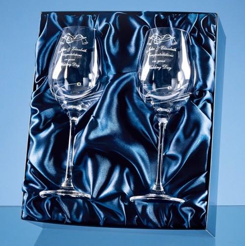 SL139 2 x Diamante Wine Glasses