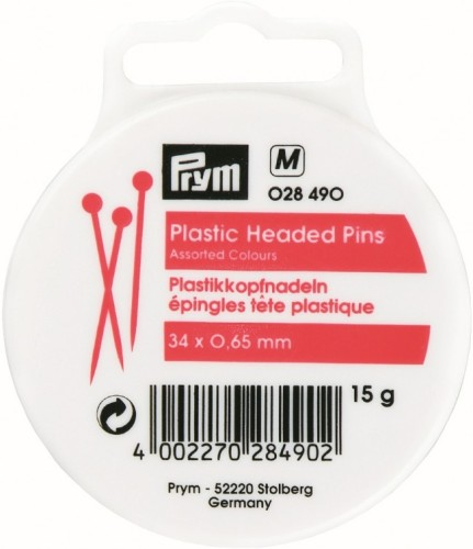 prym 34mm plastic headed pins assorted colours 028490