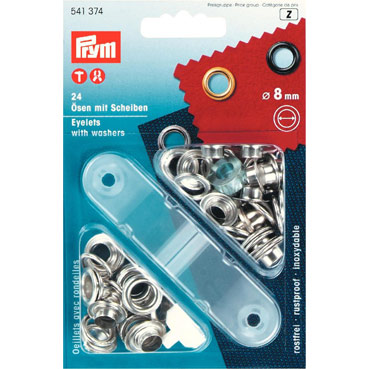 Prym 8mm eyelets washers + fixing tool 541374 SILVER