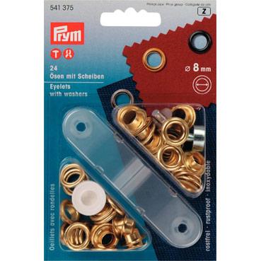 Prym 8mm eyelets washers + fixing tool 541375 Gold