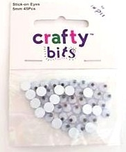 5mm stick on wobbly eyes for toys dolls crafts cards