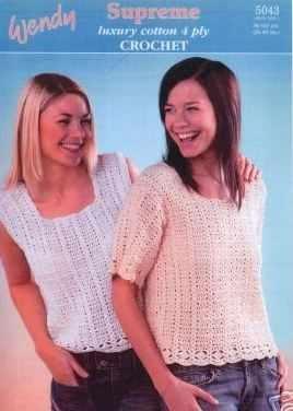 Wendy Supreme Cotton Crochet Pattern 5043 Sleeveless Tops