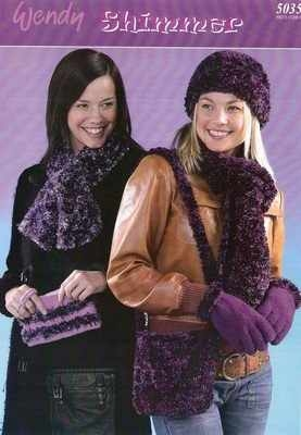 Wendy Shimmer Knitting Pattern 5035 Bags, Hats,Scarf, Gloves