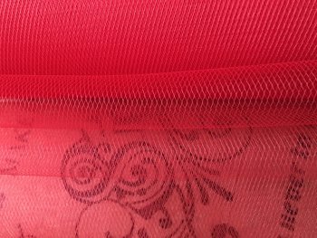 Red Tulle Lightweight Finesse Netting Fabric